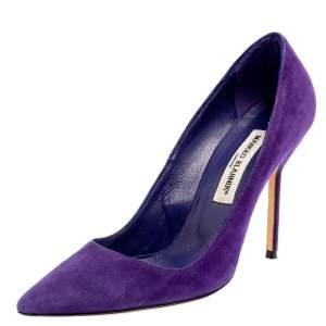 حذاء كعب عالي مانولو بلانيك بي بي مقدمة مدببة سويدي بنفسجي مقاس 37.5