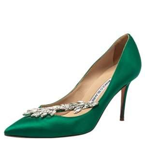 Manolo Blahnik Green Satin Nadira Pumps Size 37