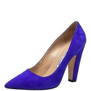 حذاء كعب عالي مانولو بلانيك ألبا سويدي أزرق كعب مربع سميك مقاس 40.5