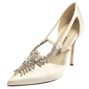 حذاء كعب عالي مانولو بلانيك مقدمة مدببة مزخرف كريسال لالا ساتان أبيض عاجي مقاس 38.5