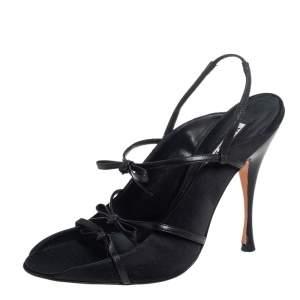 Manolo Blahnik Black Leather Bow Sandals Size 40