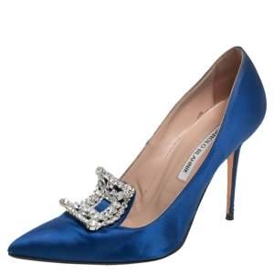 حذاء كعب عالي مانولو بلانيك جلد أزرق لامع مزخرف مقدمة مدببة مقاس 37.5