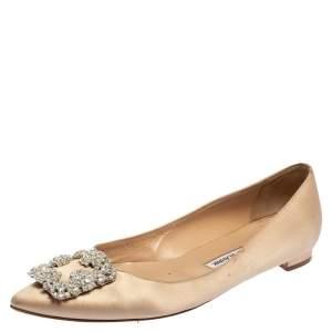 Manolo Blahnik Beige Satin Hangisi Ballet Flats Size 39