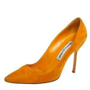 حذاء كعب عالي مانولو بلانيك بي بي مقدمة مدببة سويدي أصفر مقاس 36