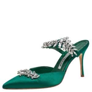 Manolo Blahnik Green Satin Crystal Embellished Lurum Sandals Size 37.5