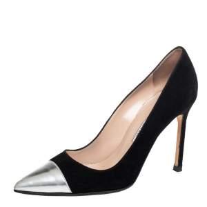 Manolo Blahnik Black Leather, Suede Bipunta  Pumps Size 36.5
