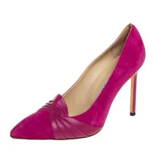 Manolo Blahnik Pink Suede And Leather Pumps Size 37