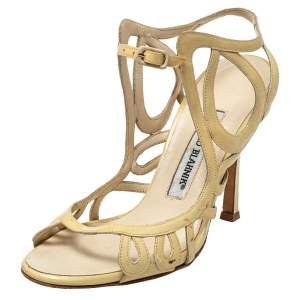 Manolo Blahnik Yellow Patent Leather Strappy Sandals Size 36.5