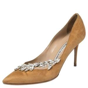 Manolo Blahnik Gold Satin Nadira Crystal Embellished Pointed Toe Pumps Size 37