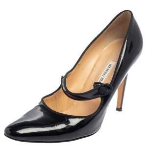 حذاء كعب عالي مانولو بلانيك كامبارينو ماري جان جلد لامع أسود مقاس 39.5