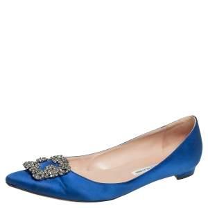 Manolo Blahnik Blue Satin Hangisi Flats Size 42