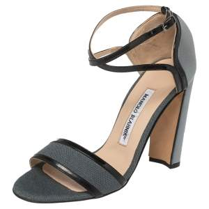 Manolo Blahnik Grey Satin, Canvas, and Patent Leather Trim Cucisan Ankle Strap Sandals Size 36