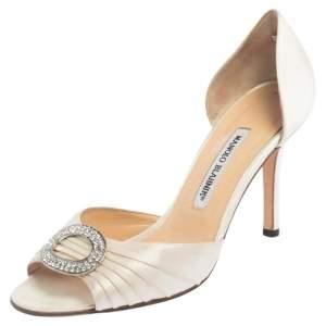 Manolo Blahnik Cream Pleated Satin Sedaraby D'orsay Sandals Size 39.5