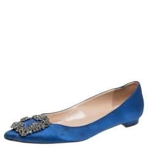 Manolo Blahnik Blue Satin Hangisi Crystal Embellished Ballet Flats Size 35.5
