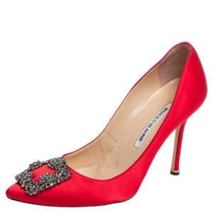 Manolo Blahnik Red Satin Hangisi Embellished Pointed Toe Pumps Size 38.5