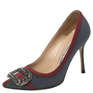 حذاء كعب عالي مانولو بلانيك مقدمة مدببة مزخرف كريستال قماش رمادي مقاس 35.5
