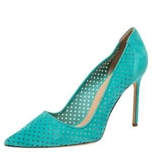 حذاء كعب عالي مانولو بلانيك BB سويدي أزرق بمقدمة مدببة مقاس 42