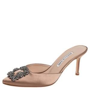 Manolo Blahnik Beige Satin Hangisi Mule Sandals Size 37
