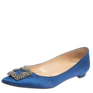 Manolo Blahnik Blue Satin Hangisi Pointed Toe Flats Size 40