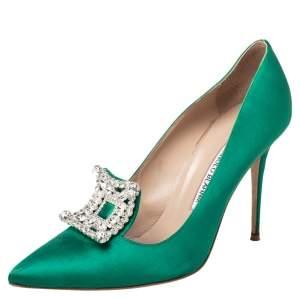 Manolo Blahnik Green Satin Borlak Crystal Embellished Pointed Toe Pumps Size 40