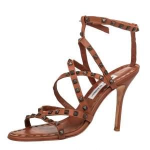Manolo Blahnik Brown Leather Embellished Ankle Strap Sandals Size 39.5