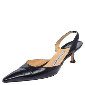 Manolo Blahnik Navy Leather Carolyne Pointed Toe Slingback Sandals Size 42