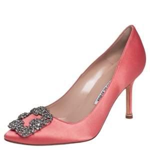 Manolo Blahnik Pink  Satin Hangisi Pumps Size 35