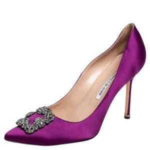 Manolo Blahnik Purple Satin Hangisi Crystal Embellished Pumps Size 42