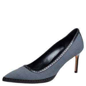 Manolo Blahnik Grey Canvas Brogue Trim Pointed Toe Pumps Size 40