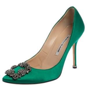 Manolo Blahnik Green Satin Hangisi Pumps Size 38
