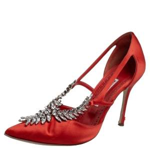 Manolo Blahnik Red Satin Lala Pointed Toe Pumps Size 40.5