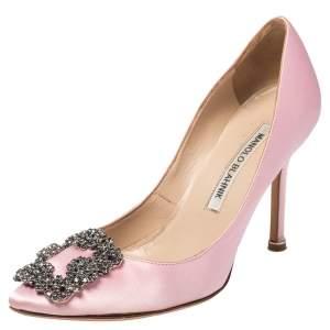 Manolo Blahnik Bright Pink Satin Hangisi Pumps Size 34.5