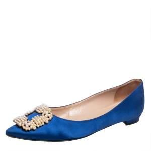 Manolo Blahnik Blue Satin Hangisi Pearl Embellished Flats Size 36