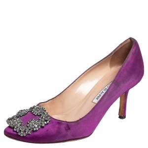 Manolo Blahnik Purple Satin Hangisi Embellished Pumps Size 36