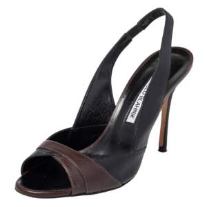 صندل مانولو بلانيك أنون جلد أسود/ بني حزام للكاحل مقاس 36.5