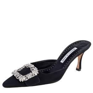 Manolo Blahnik Black Fabric Buckled Embellished Mule Sandals Size 38
