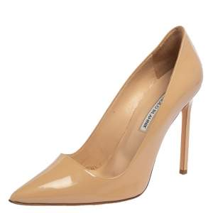 Manolo Blahnik Beige Patent Leather BB Pointed Toe Pumps Size 40