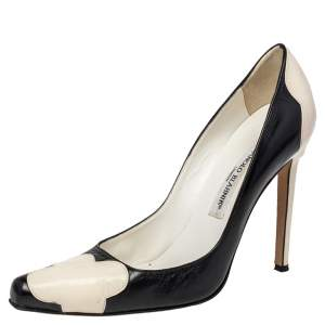 Manolo Blahnik Two Tone Leather And Patent Leather Adra Pumps Size 37.5