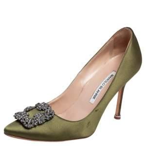 Manolo Blahnik Green Satin Hangisi Embellished Pumps Size 37.5