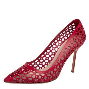 Manolo Blahnik Red Laser Cut Leather Pointed Toe Pumps Size 38