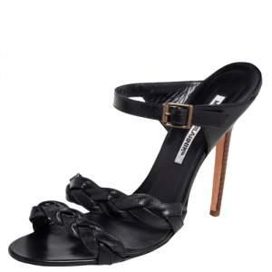 Manolo Blahnik Black Woven Leather Open Toe Sandals Size 38.5