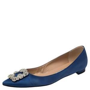 Manolo Blahnik Royal Blue Satin Hangisi Embellished Ballet Flats Size 40
