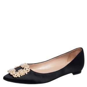 Manolo Blahnik Black Satin Hangisi Pearl Embellished Ballet Flats Size 37