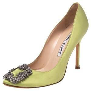 Manolo Blahnik  Apple Green Satin Hangisi Pumps Size 35.5