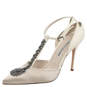 Manolo Blahnik White Satin And Suede Eridania D'orsay Ankle Strap Pumps Size 40