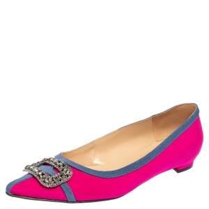 Manolo Blahnik Pink Satin Gotrian Crystal Embellished Pointed Toe Flats Size 40.5