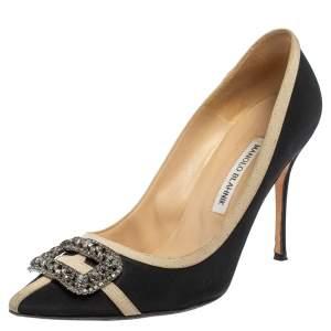 حذاء كعب عالي مانولو بلانيك قماش أسود بمقدمة مدببة مزخرفة بالكريستال مقاس 39.5