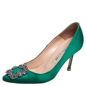 Manolo Blahnik Green Satin Hangisi Pumps Size 36.5