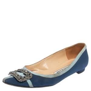 Manolo Blahnik Blue Satin Gotrian Crystal Embellished Pointed Toe Flats Size 37