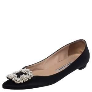Manolo Blahnik Black Satin Hangisi Ballet Flats Size 38.5